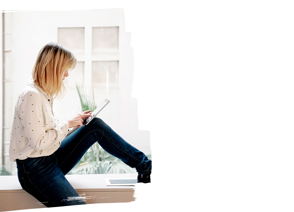 woman searching for careers on tablet